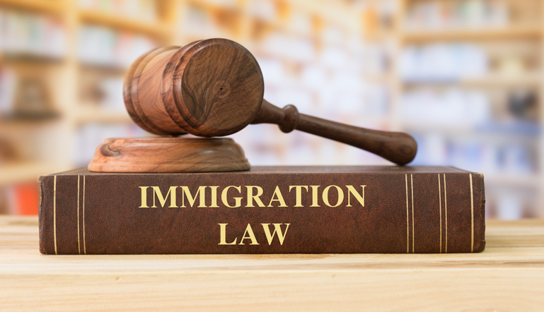 A Gavel on immigration law book at the library of Find Your Lawyer 911