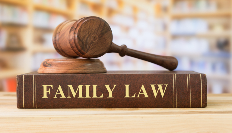 A family law book with a gavel at our library at Find Your Lawyer 911