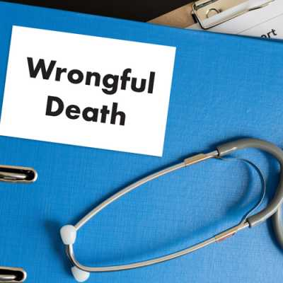 A stethoscope along with a file of Wrongful death at Harrell, Smith & Williams Metuchen NJ