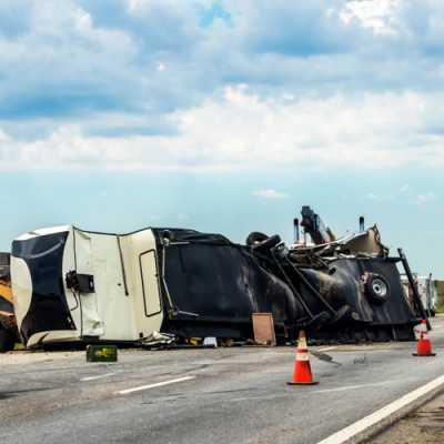 A truck met a severe accident on the road