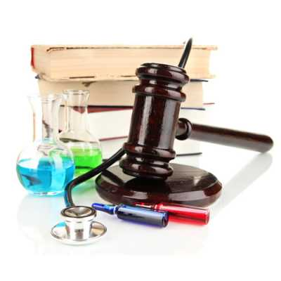 Few law books, drugs injections, and chemicals at the table with a gavel
