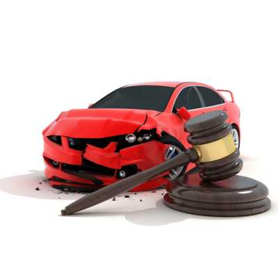 Model of an accident car along with gavel at Jaloudi & Associates Clifton NJ